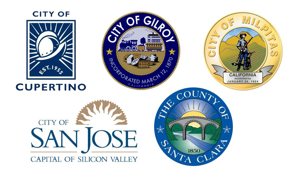 Critical Repair Program City & County Logos -- Cupertino, Gilroy, Milpitas, San Jose & Santa Clara County